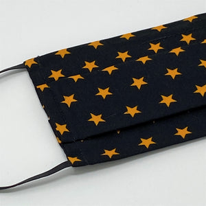 Stars Black Pleated Face Mask