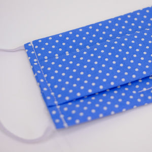 Polka Dot Blue Pleated Face Mask