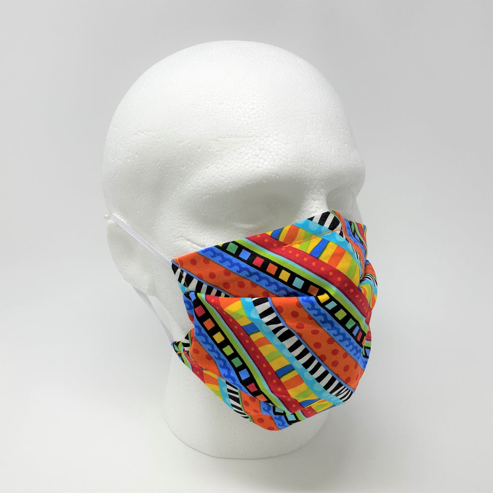 Bright Stripes Pleated Face Mask