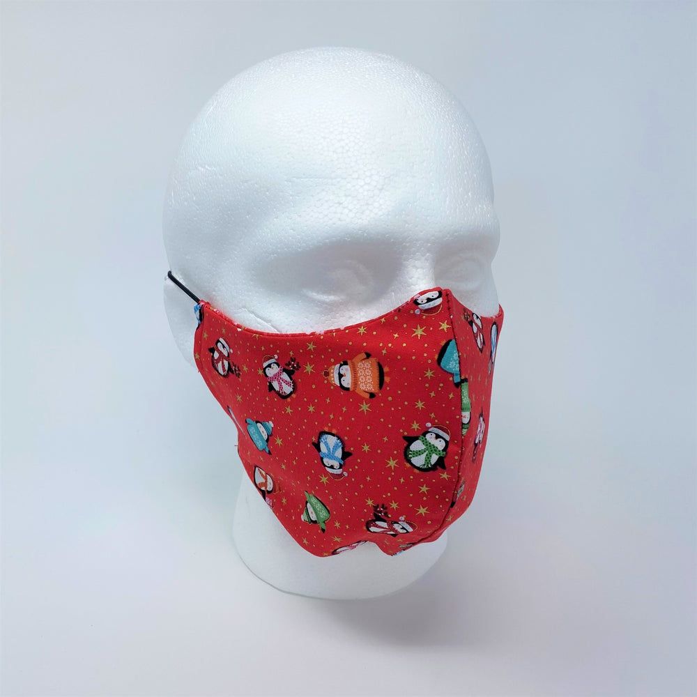 Happy Penguins & Red Sparkle Reversible Fitted Face Mask