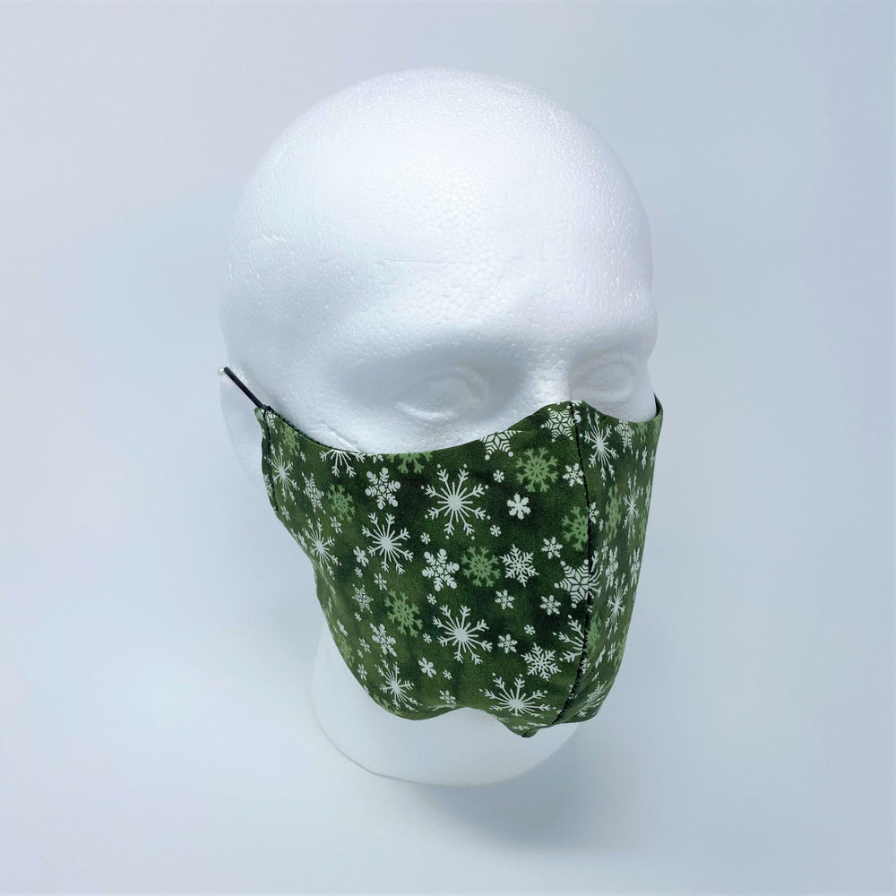 Let It Snow & Green Hex Reversible Fitted Face Mask