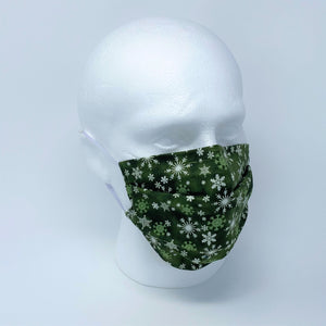 Let It Snow Green Pleated Face Mask