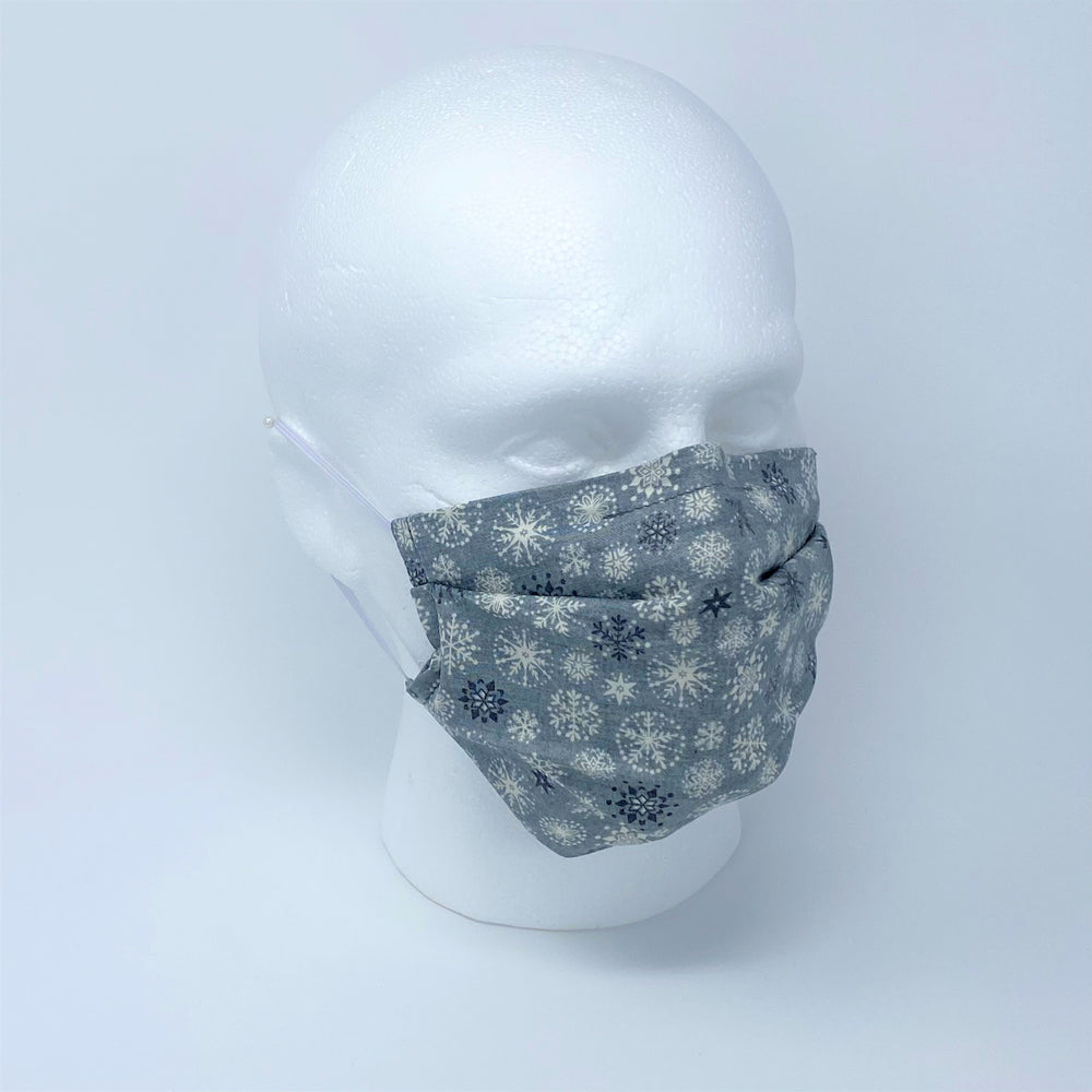 Let It Snow Grey Pleated Face Mask