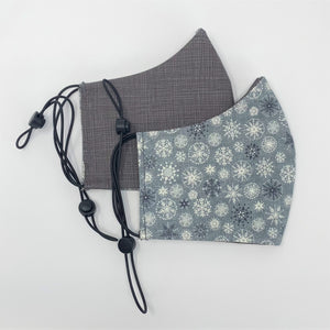 Let It Snow & Grey Sketch Reversible Fitted Face Mask