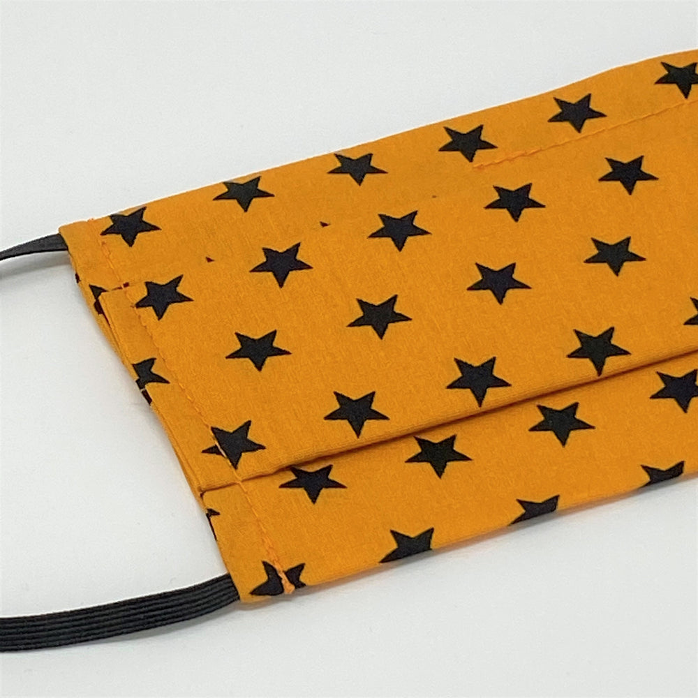 Stars Orange Pleated Face Mask