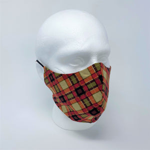 Orange Tartan & Spruce Reversible Fitted Face Mask