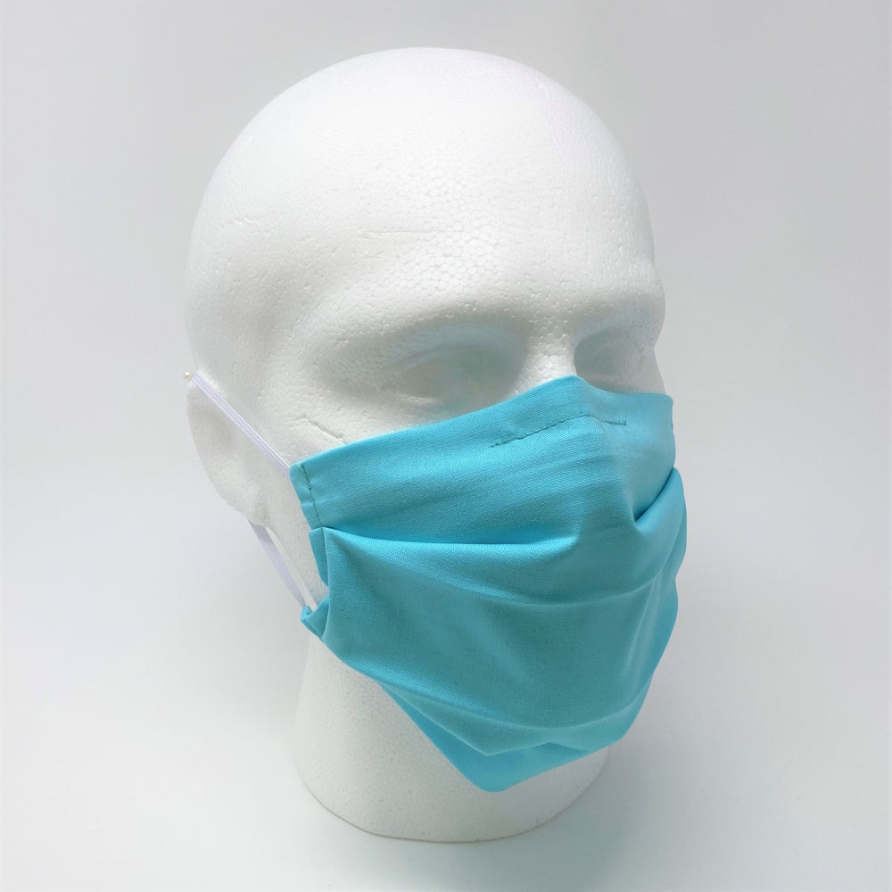 Plain Blue Pleated Face Mask