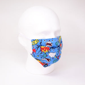 Pow and Smash Blue Pleated Face Mask
