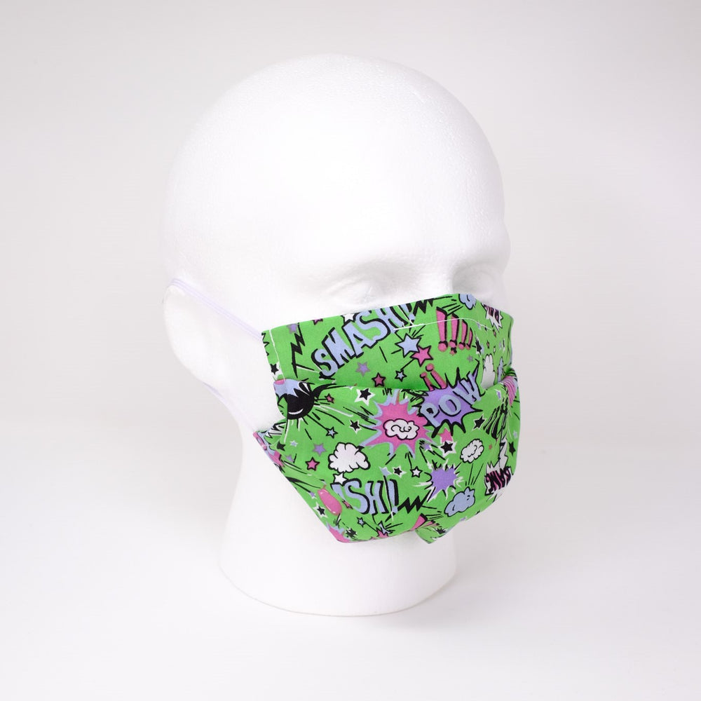 Pow and Smash Green Pleated Face Mask