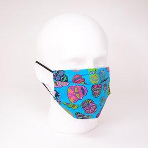 Psychedelic Skulls Blue Pleated Face Mask