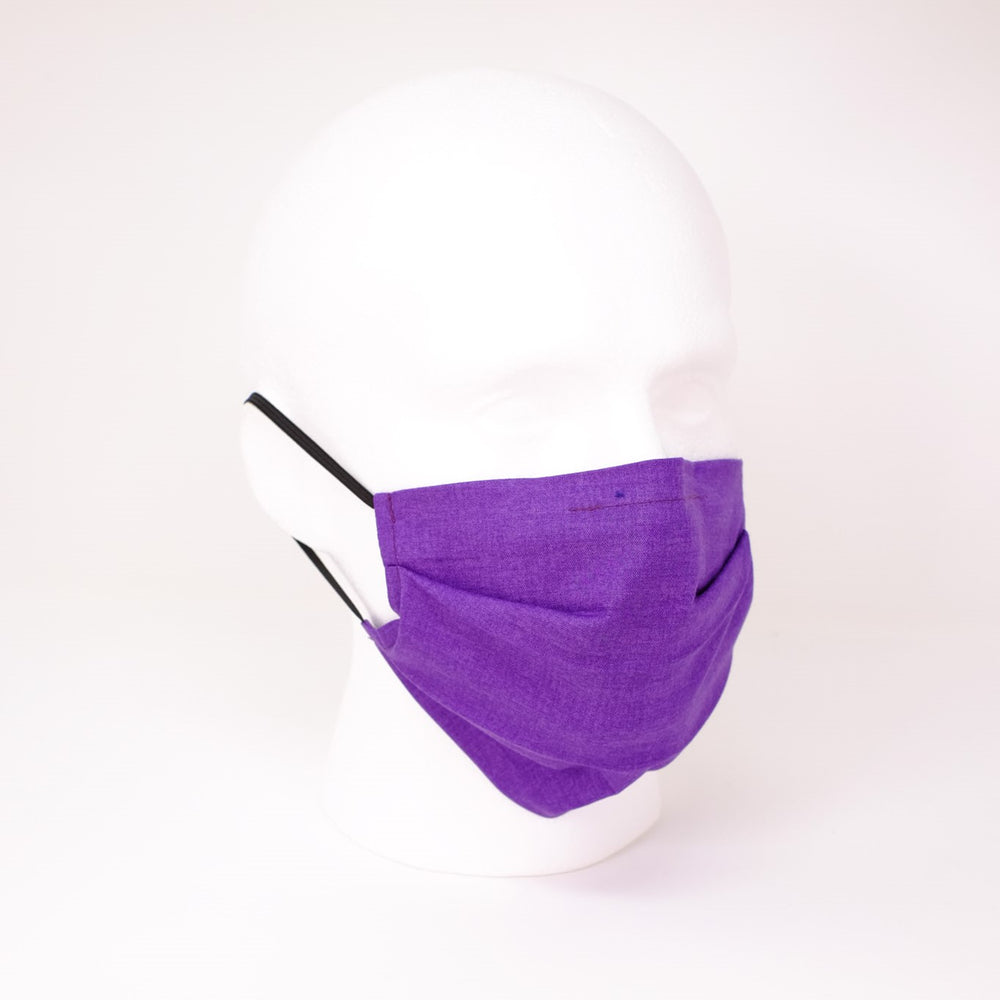 Plain Purple Pleated Face Mask