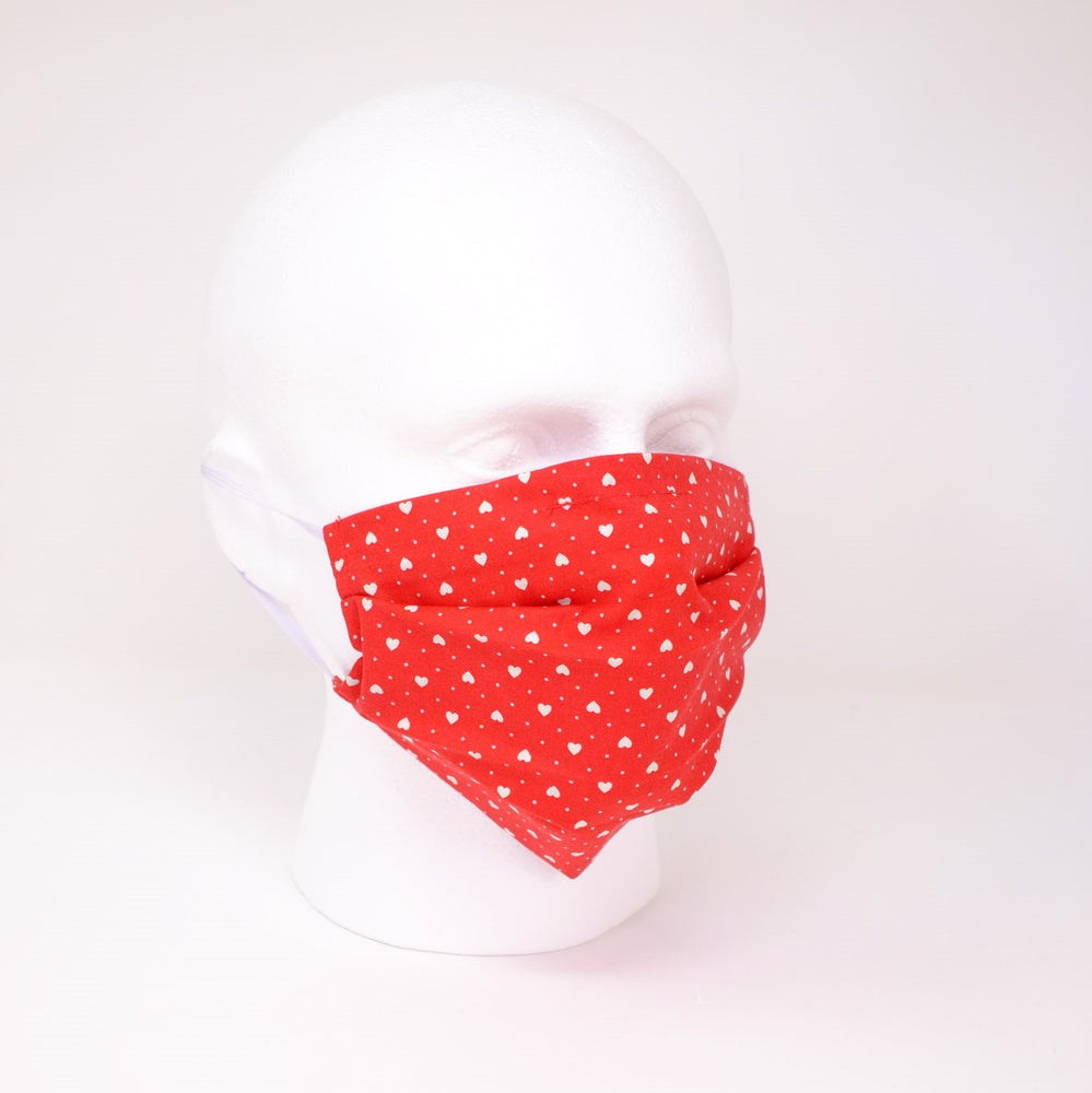 Heartbeat Red Pleated Face Mask