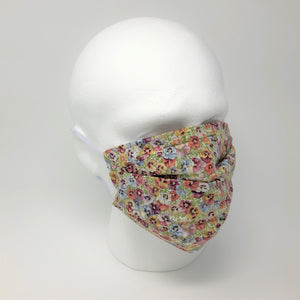 Vintage Pansy Pleated Face Mask