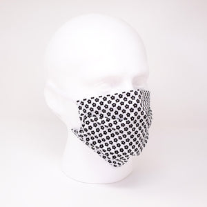Geo Flower White Pleated Face Mask