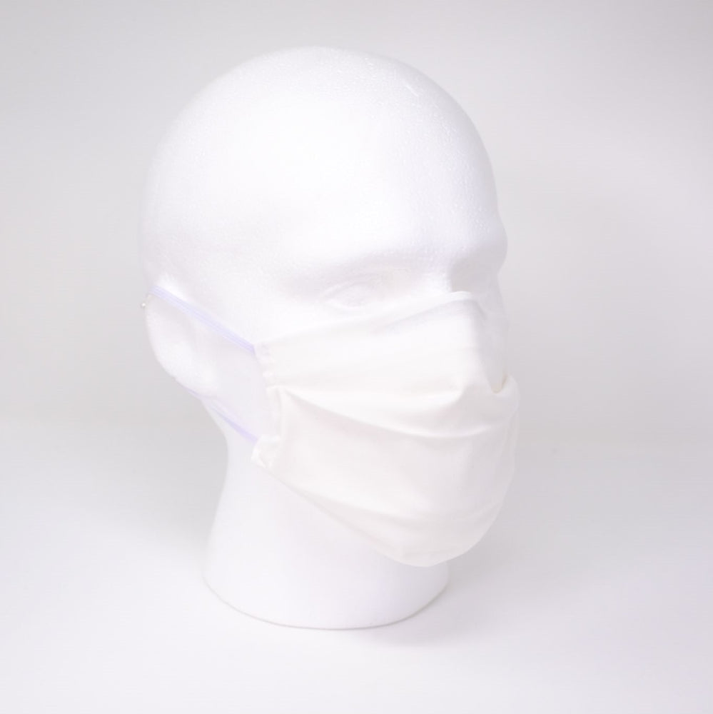 Plain White Pleated Face Mask