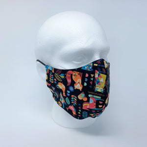 Woodland Folk & Black Hex Reversible Fitted Face Mask