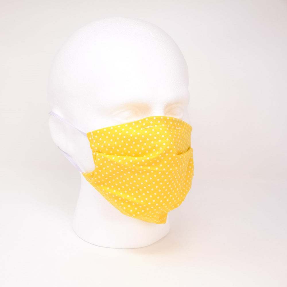 Polka Dot Yellow Pleated Face Mask
