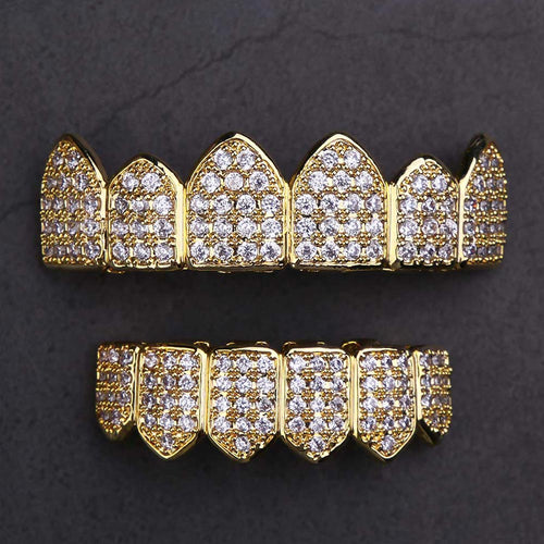 Set de Grillz Plaqué Or 14k Pavé Pierres CZ