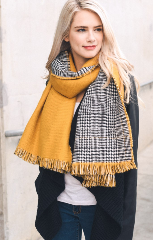 mustard houndstooth reversible frayed edge scarf | Premium Caps