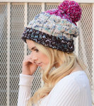fuchsia multi-color pom knit beanie | Premium Caps