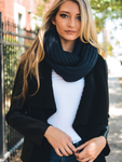 beautiful navy blue chunky braided infinity scarf | Premium Caps