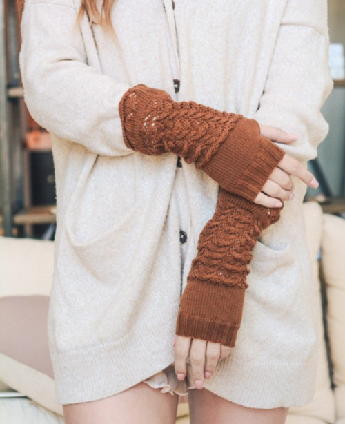camel knitted arm warmers | Premium Caps