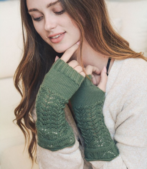 sage knitted arm warmers | Premium Caps