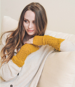mustard knitted arm warmers | Premium Caps