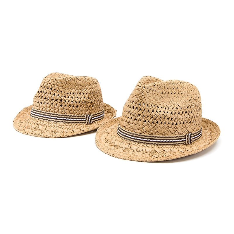 Handmade Straw Hat Parent child  JazzSummer Sun Hat Beach
