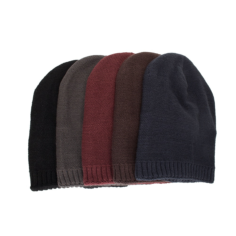 Joymay Two way Wearing Winter Beanies Hat  Disorderly Color Unisex Plain Warm Soft Skull Knitting Cap Hats Wholesale WM092