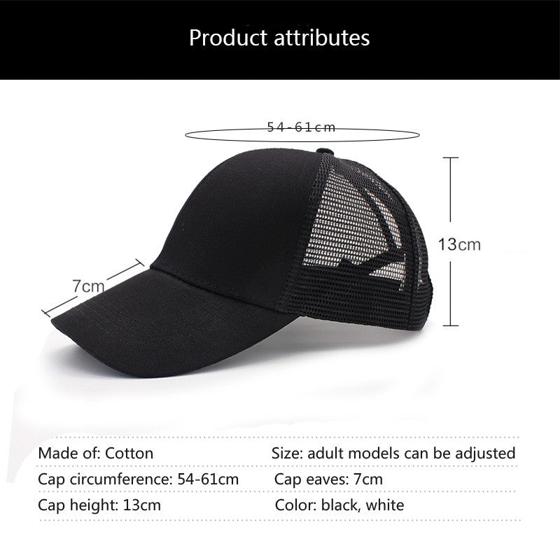 New Arrivals Ponytail Hair Baseball Cap Women Messy Bun Baseball summer Hat Snapback grid