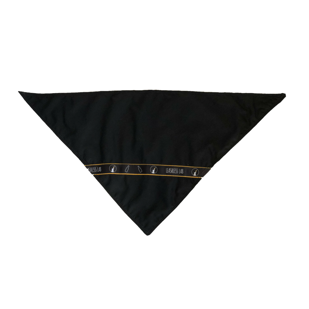 Dog bandana with Leashless Lab logo.
