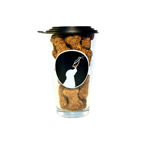 Leashless Lab Beer Grain Dog Treats in Dog Pint Glass