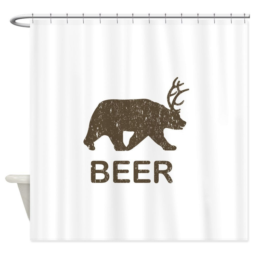 Bear Beer Shower Curtain Made With Waterproof Polyester