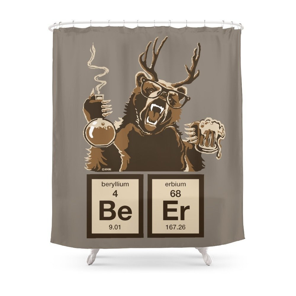 Chemistry Bear Beer Shower Curtain Made With Waterproof Polyester