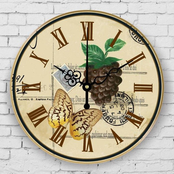 3D fruits and waterproof clock face fashion kitchen decorative wall clock gift