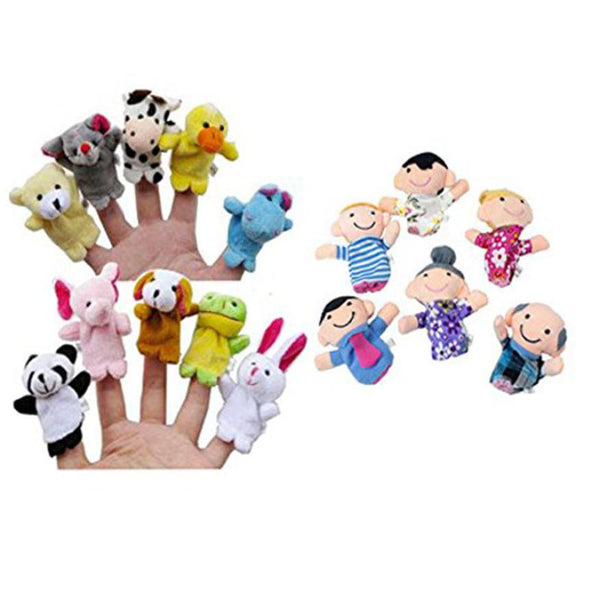 16 pcs Popular Family Finger fantoches de dedo Puppets Cloth Doll Baby hand Toy