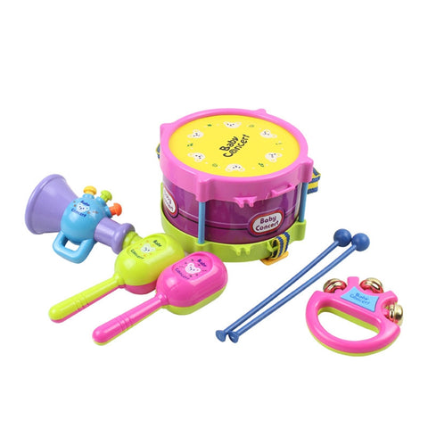 5pcs Kids Baby Roll Drum Beat Rattles Educational Musical Game