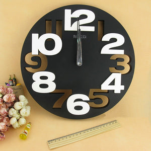 3D Big Digit Modern Contemporary Home Decor Round Wall Clock