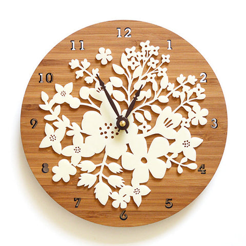 3D Flower Wood Wall Clock