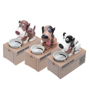 Cute Dog Mechanical Piggy Bank Automatic Robotic Coin Munching Toy