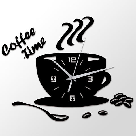 3D DIY Acrylic Wall Clock Coffee Time