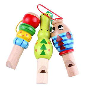 3pcs Wooden Cartoon Animal Whistles Educational Music Instrument Sounds Toy