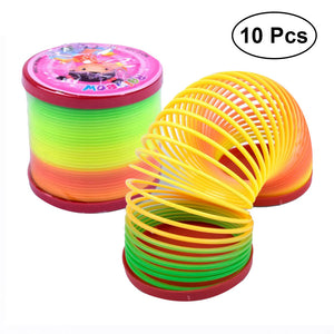 10Pcs Colorful Spring Coil Magic Rainbow Coil Party Favor Magic Spring