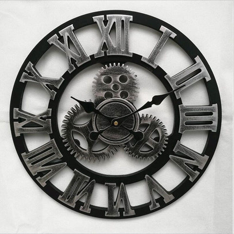 Large Wall Clock Vintage Gear Clock American Style