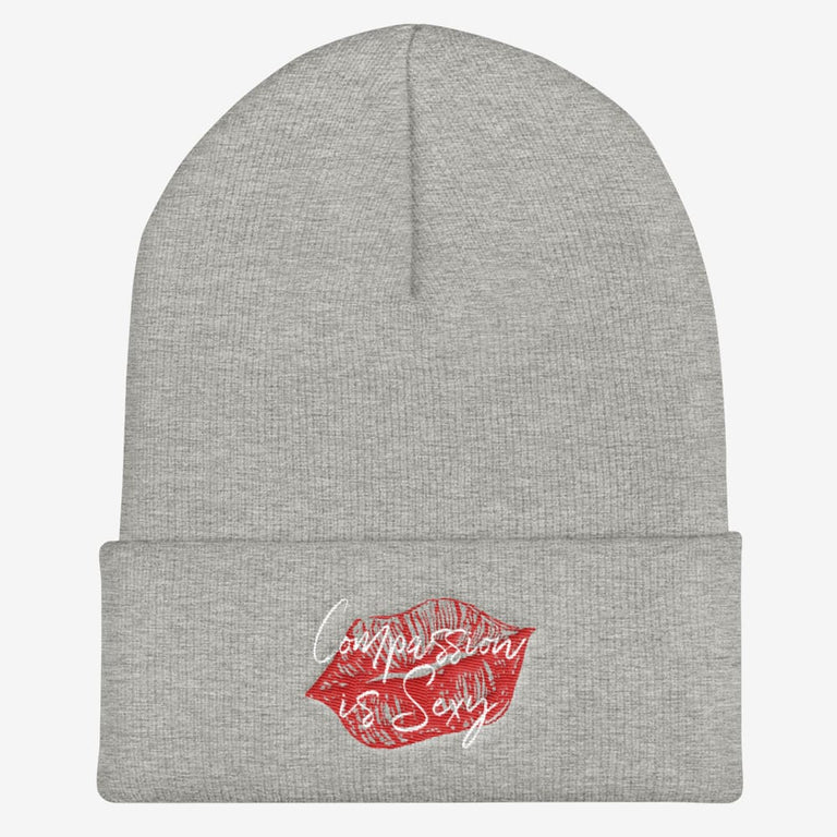 Compassion Is Sexy Cuffed Beanie - Heather Grey