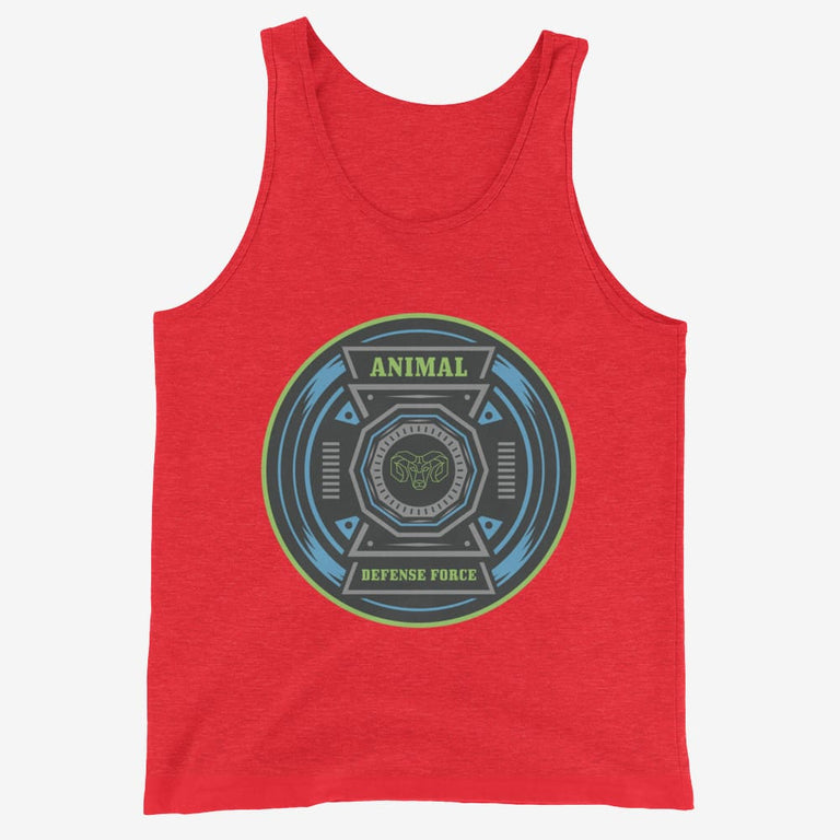 Mens Animal Defense Force Tank Top - Red Triblend / Xs