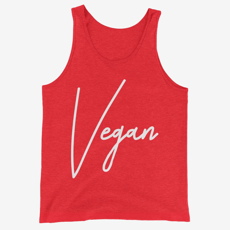 Mens Chic Vegan Tank Top - Red Triblend / Xs
