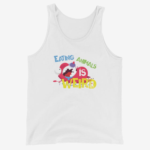 Mens Eating Animals Is Weird Tank Top - White / Xs