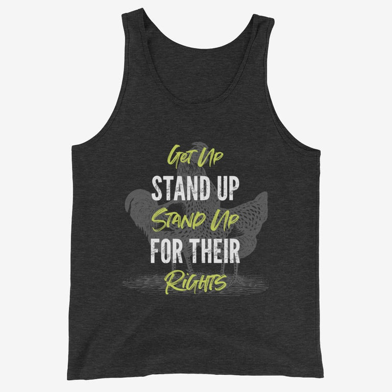 Mens Get Up Stand Up Tank Top - Charcoal-Black Triblend / Xs